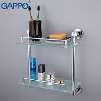 GAPPO Stainless Steel Wall Mount Bathroom Shelves Glass Shelf Holders Bath Double Layer Storage Shelf Bath