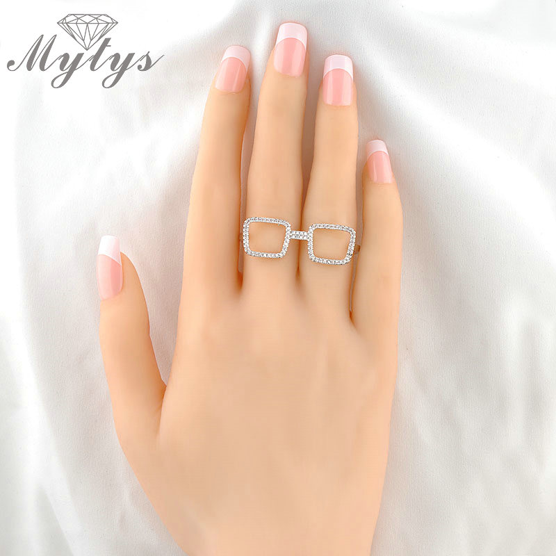 Mytys Finger Glass Ring Shape 2 Fingers Rings for women Free Size Adjustable Open Cuff Ring