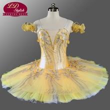 Girls Professional Ballet Tutu Yellow Gold Flower Fairy Pancake Nutcracker Ballerina Dress LD0076