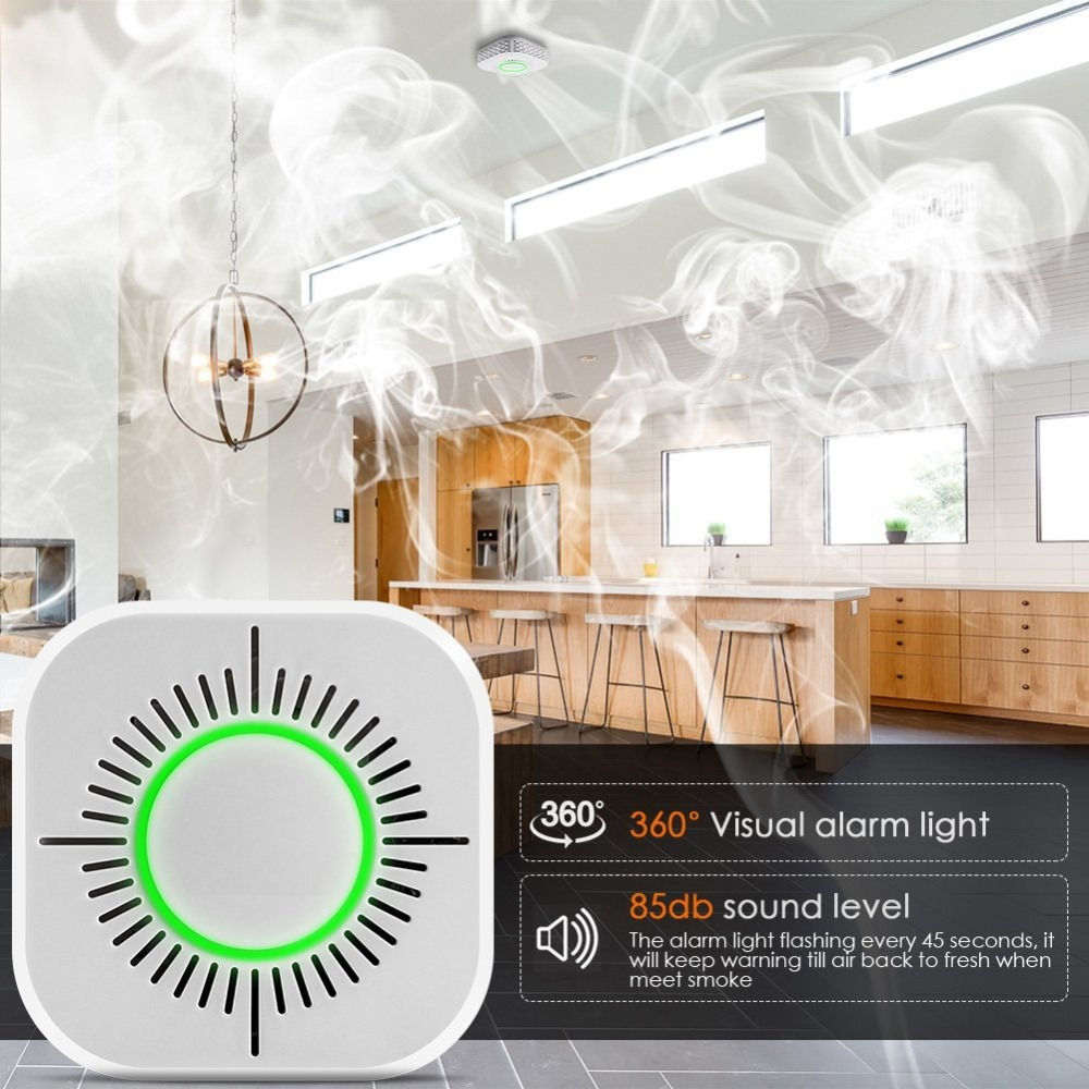 Wifi 433MHz Wireless Smoke Detector Fire Protection Portable smoke detectors Home Safe Security smoke alarm Sensor Systerm parts soccer-specific stadium