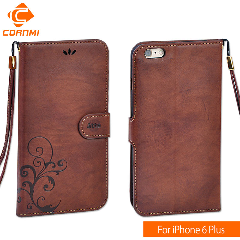 buy online 47da4 77a7e US $5.8 35% OFF|CORNMI Cell Phone Cases For iPhone 6 Plus Wallet Brand  Luxury Leather Flip Case Men Women Cover For Apple iPhone 6Plus 5.5
