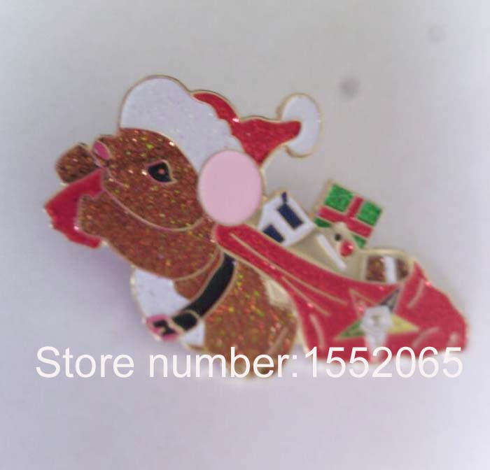 Wholesale 2 Glitter Christmas gift fashion lapel pin badge lovely mouse with hat