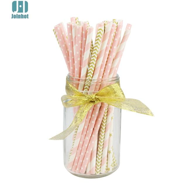 50 unids/lote rosa y oro las ondas de punto a rayas de papel pajitas creativo bebiendo tubos suministros fiesta para boda estrella
