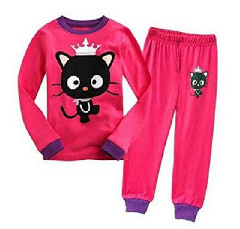 e47e40c68371 New Pink Cat Baby Girls Pajamas 100% Cotton Autumn Long Sleeve 2-7 Years  Children PJ S Boys Pijama Girl Home Clothes
