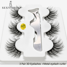 SEXYSHEEP 3Pairs 3D faux mink Eyelashes long false lashes EyeLash Extensions Eyelash curler Eye Makeup kit maquiagem