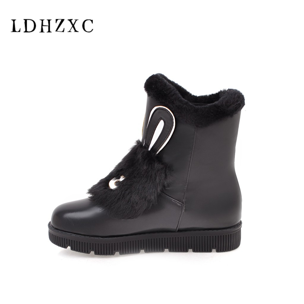 LDHZXC 2018 new fashion Women Ankle Boots New Fashion Waterproof Wedge Platform Winter Warm ugg Snow Boots Shoes For Female image