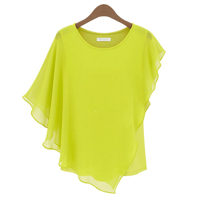 Camisas Femininas 2018 Summer Women Short-sleeved ruffled sleeveT-shirt Flounced Chiffon Tops Bat Shirt Plus Size Women Clothing