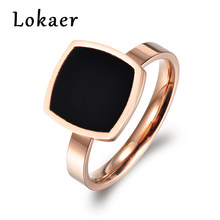 Lokaer Famous Design Titanium Stainless Steel Ring Jewelry Rose Gold Color Square Black Acrylic Wedding Women Rings Anillos(China)
