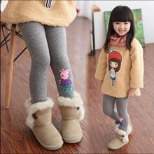2017 Baby cartoon pig leggings girl winter children's clothing plus velvet thickening long trousers baby girls Warm Pants
