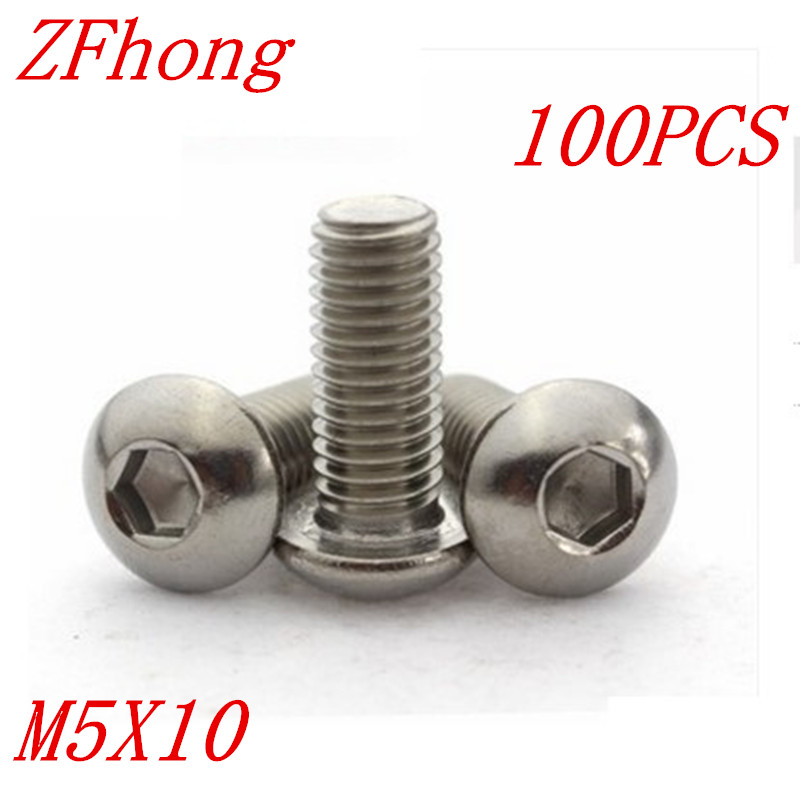 100pcs iso7380 Stainless steel 304 M5*10 hex hexagon socket button head machine screw 50pcs iso7380 m3 5 6 8 10 12 14 16 18 20 25 3mm stainless steel hexagon socket button head screw
