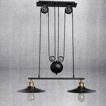 Polea De Hierro Loft Negro Colgante de Luz sin Espejo Decoración Casera Bar Cocina Lámpara E27 Edison Bombillas Iluminación