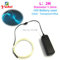 2 Meters Transparent Blue EL Wire Flexible Neon Glow Light EL Cable Rope For Car Party