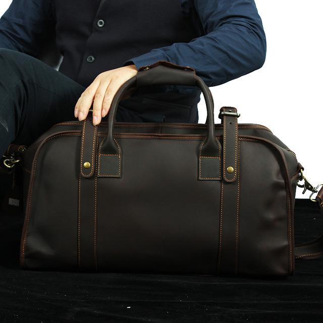 Vintage hombres duffle bag travel tote bolsa de hombro Mensajero Bolsa de Ordenador Portátil portátil masculina bolsa de Negocios Maletín de cuero genuino