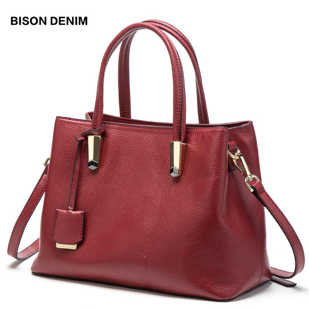 BISON DENIM Luxury Red Tote Bag Women Handbags Cowskin Genuine Leather Handbag Large Capacity Bag Sling Bags For Women N1484