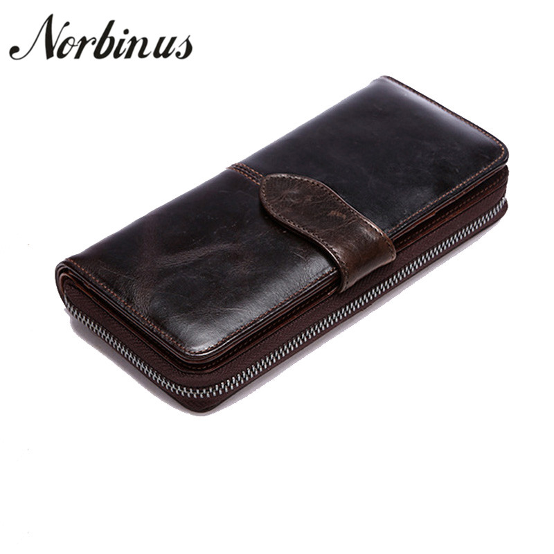 Norbinus Genuine Leather Men Wallet Zipper Real Leather Long ...