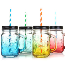 Новое поступление 450 мл креативная постепенная цветная масонская бутылка с Крышкой соломенная Спортивная бутылка прозрачная стеклянная кружка для воды