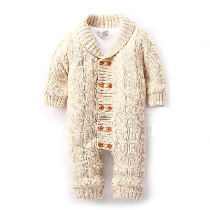 840655cd6142 Thick Warm Infant Baby Rompers Winter Clothes Newborn Baby Boy Girl Knitted Sweater  Jumpsuit Kid Toddler Outerwear