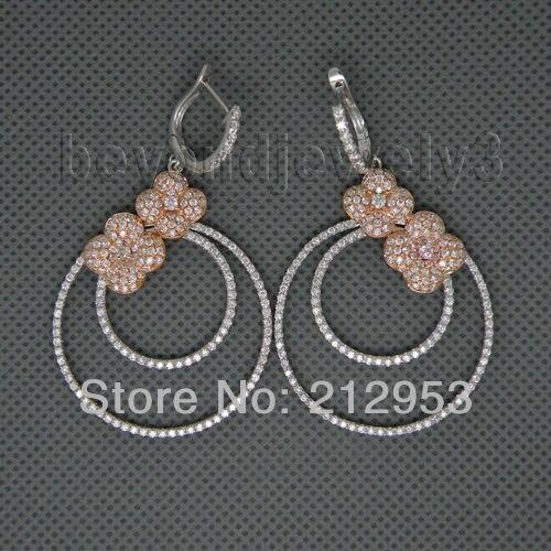 Ювелирные изделия в виде цветка, винтажные одноцветные 14Kt двухцветные золотые свадебные серьги с натуральным бриллиантом для женщин, подарок E161A