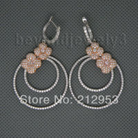 Flower Jewelry Vintage Solid 14Kt Two Tone Gold Natural Diamond Wedding Earrings for Women Gift E161A