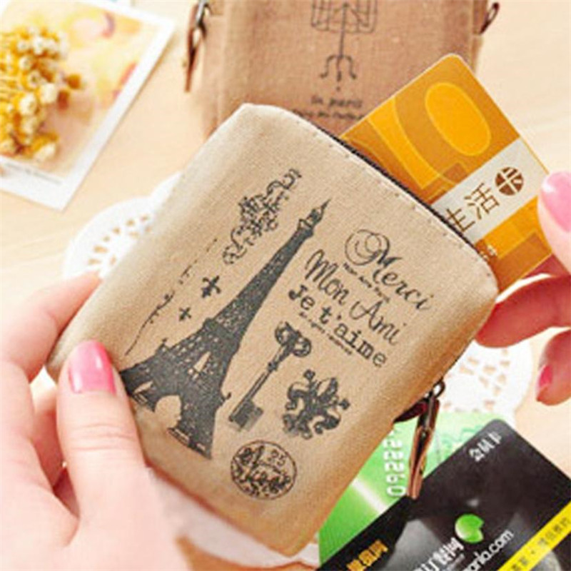 Girls mini cartoon wallet Classic Retro Canvas Tower Printing Purse Wallet Card Key Coin Bag Pouch Case feminina monedero