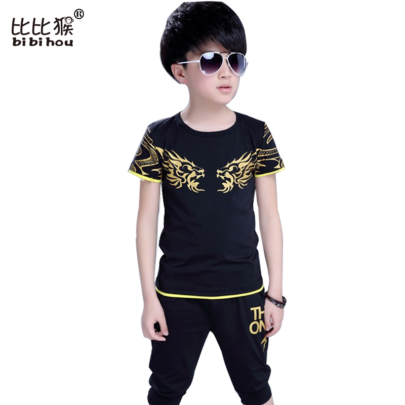 4-10 years old Children Kids Boys Summer Clothes Sets Cartoon Dragon Boys T-Shirt + Shorts Sport Suit Baby children Boy Clothes