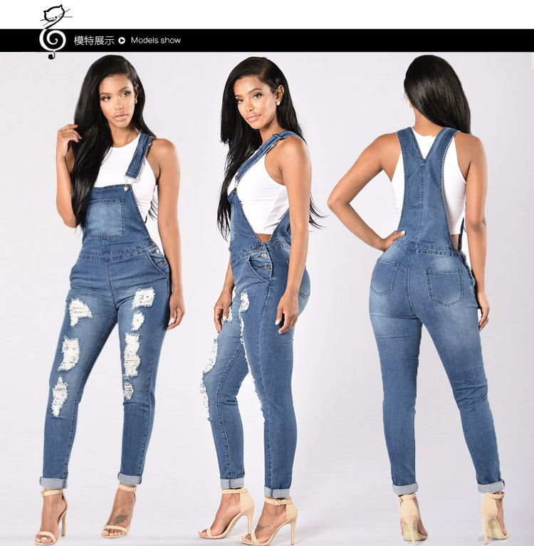 c169b6ca3cd7 Detail Feedback Questions about 2018 NEW Denim Bib Pants Female Bf Loose  Plus Size Denim Trousers Female Jumpsuit Hole Loose Plus Size Trousers  Jumpsuit on ...