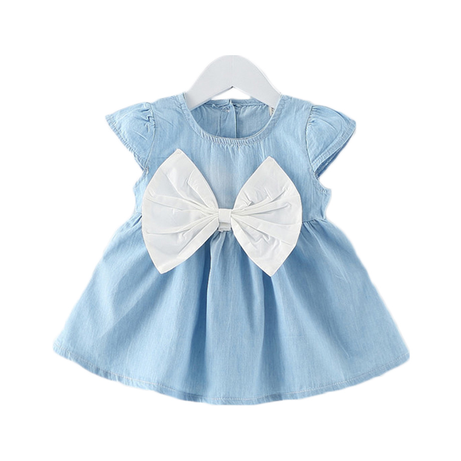 The new spring and summer dress baby cowboy bow baby princess dress casual short dress baby girl cowboy clothes lovely little gi
