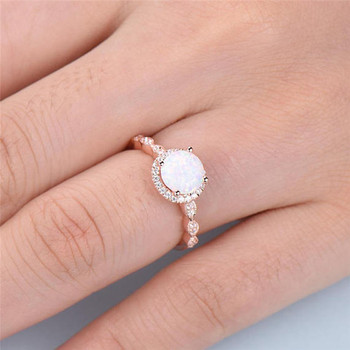 Dainty Round Fire Opal Rings for Women  4