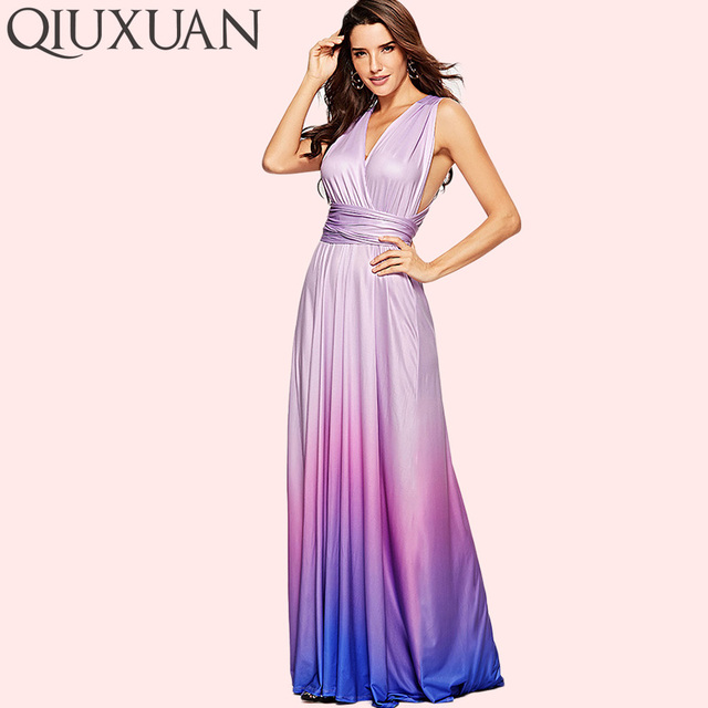 928b8efbb8c5c US $23.13 35% OFF|QIUXUAN Ombre Tie Dye High Waist Maxi Dress Summer  Fashion Cross Back Sleeveless Wrap Dress Ruched Waist Women Party Dress-in  ...