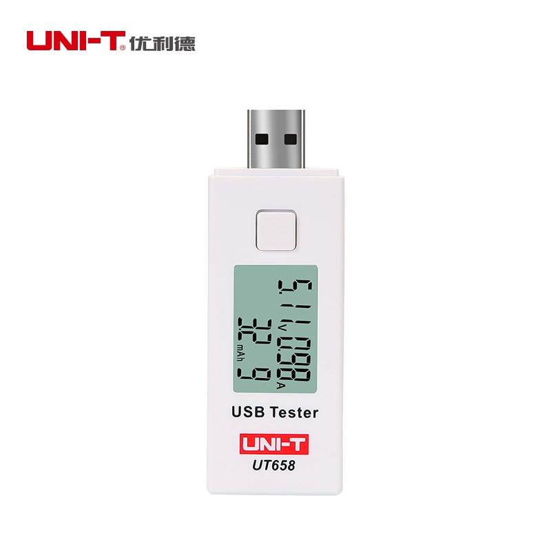 UNI-T UT658 Digital USB Tester Voltmeter Ammeter LCD Voltage Monitor Current Meter Capacity Tester 9V 3A & Backlight