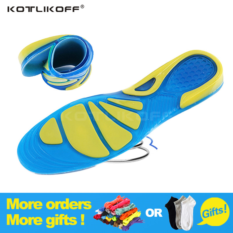 KOTLIKOFF Silicon Gel Insoles Foot Care for Plantar Fasciitis Heel Spur Running Sport Insoles Shock Absorption Pads men/women