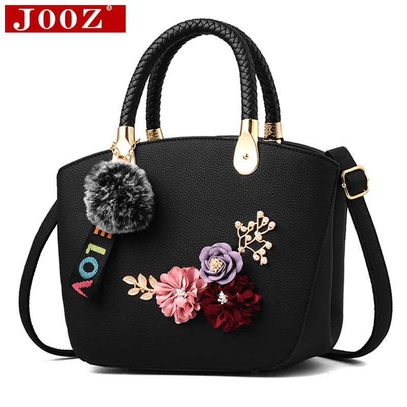 JOOZ Fashion Sweet Leaves Decals Women's Leather handbags Beach Messenger lady Bag Floral Casual totes With fur Cross Body Bags golden cross beach cross body jewelry