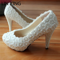 LIN KING Fashion Sweet Red Flower Lace Platform High Heels Pearls Wedding Shoes Bride Dress Shoes Spike Slip On Party Pumps