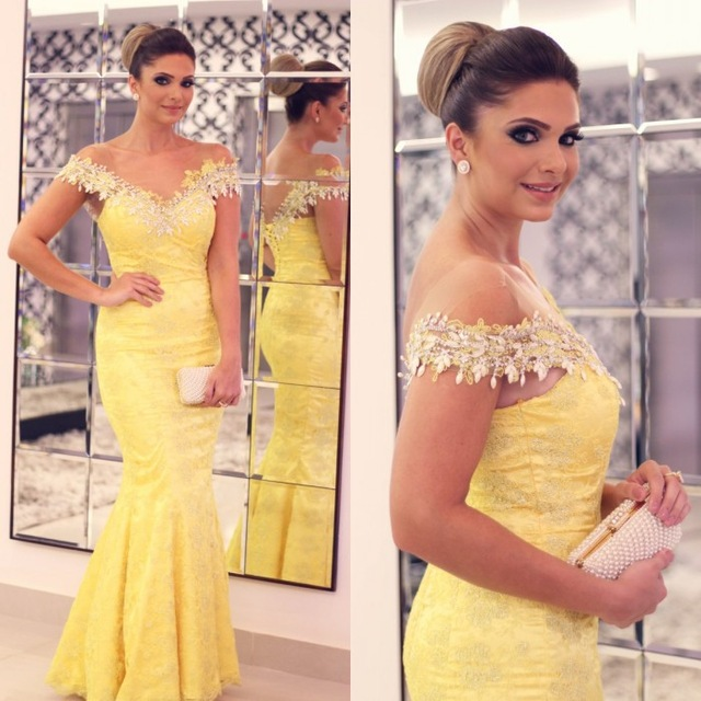 Sexy Mermaid Lace Yellow Evening Dresses Long 2017 V-Neck Applique Off The Shoulder Beading Sweep Train Formal Dress Prom Gowns