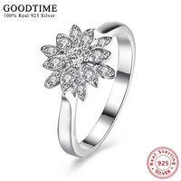Real Solid 925 Sterling Silver Wedding Rings For Women Sterling Silver Jewelry Lotus Shape Luxury Bague