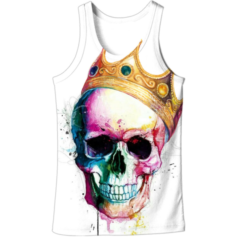 Cloudstyle 2019 3D   Tank     Tops   Men Crown Color Skull 3D Print Singlet Vest Sleeveless Summer Casual Streetwear   Tops   Plus Size 5XL
