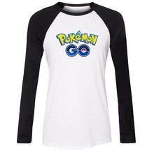 5d35bcfd7e Mulheres t-shirt pokemon idzn go jogo fãs bola puxão pikachu pokeball  Raglan padrão Menina Manga Longa camiseta impressão Senhor.