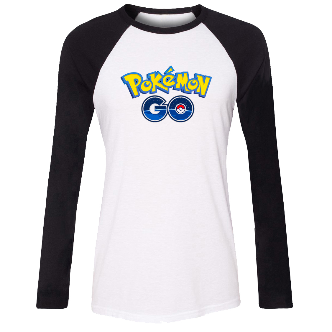 iDzn Women T-shirt Pokemon Go Game Fans Poke Ball PokeBall Pikachu Pattern Raglan Long Sleeve Girl T shirt print Lady Tee Tops