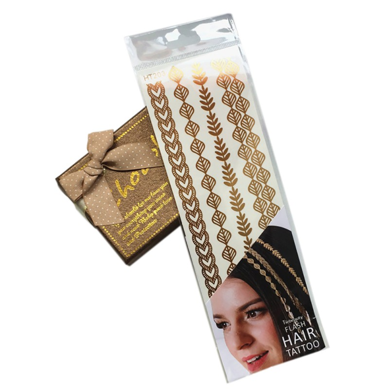 Temporary tattoo Sticker gold sliver metallic henna hair flash fake tattoos for women