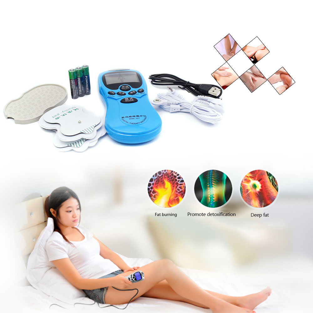 Health Care Electric Tens Acupuncture Full Body Massager Digital Therapy Machine For Back Neck Foot Amy Leg Free Shipping 4 electrode tens acupuncture electric therapy massageador machine pulse body slimming sculptor massager apparatus body care