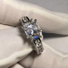 Ainuoshi роскошные 925 чисто серебряное кольцо 1Ct Свадебные Кольца три Камни прямоугольник Cut SONA любителей Кольца Для женщин свадебные кольца