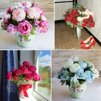 Five Colors Hight Quality Silk Flower European 1 Bouquet Artificial Flowers Fall Vivid Peony Fake Leaf