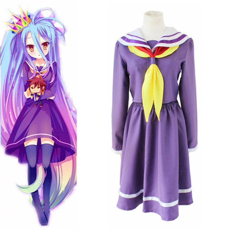 Anime No Game No Life Shiro Emboitement Cosplay Costume Heroine Purple Long Sleeve Sailor Suit (Top+ Skirt+ Bow Tie) New