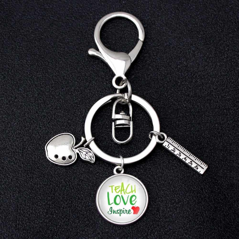 Apreciação do professor Ensinar Amor Inspirar Chaveiros Crianças Encantos Da Apple Mulheres Homens Unisex Masculino Chaveiro chave Anel Chave Da Cadeia de Jóias