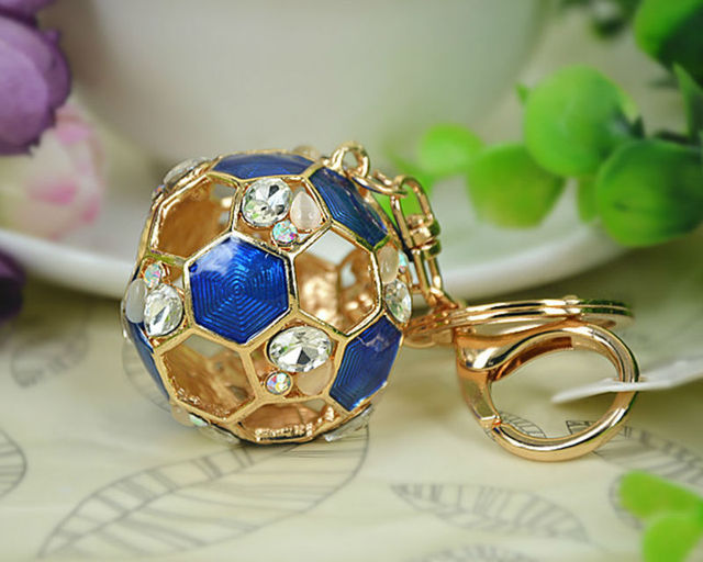 Hollow Football Opal Keyring Rings Fashion Jewelry Women Bag Crystal Rhinestone Charm Pendant Bag KeyChain Father's DayGift