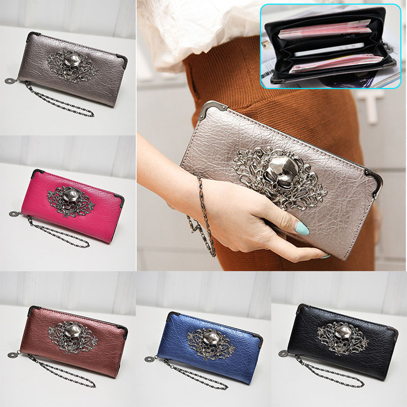Hot Fashion Metal Skull Pattern PU Leather Long Wallets Women Wallets Portable Casual Lady Cash Purse Card Holder Gift   WML99