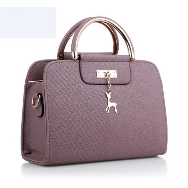 2018 Women Deer Pendant Handbags Leather Office Ring Tote Bag S Pouch Bolsas Famous Ladys