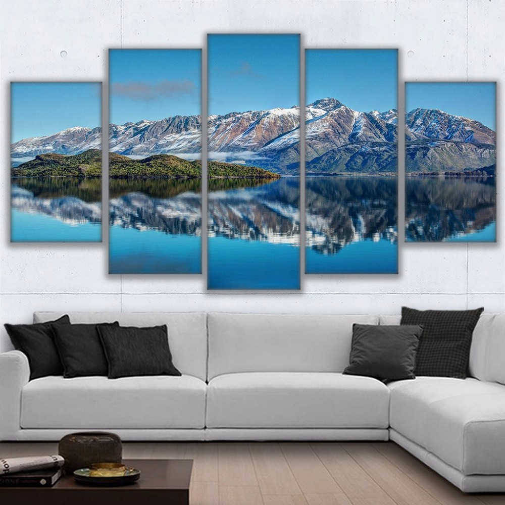 canvas prints poster wall art frame home decor 5 piece queenstown mountains painting new zealand. Black Bedroom Furniture Sets. Home Design Ideas