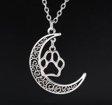 Crescent Moon Long Chain Necklace Alloy Hollow Paw Prints Charms Pendants Necklaces New