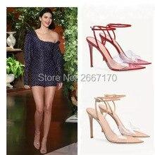154331b3b المشاهير أحذية النساء الصيف PVC واضحة الصنادل المدببة تو الكعوب العالية  الكاحل حزام شفافة الكعوب كيندال